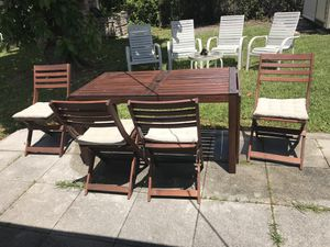 IKEA outdoor table and chairs (brown set w/ seat covers) for Sale in Miami, FL
