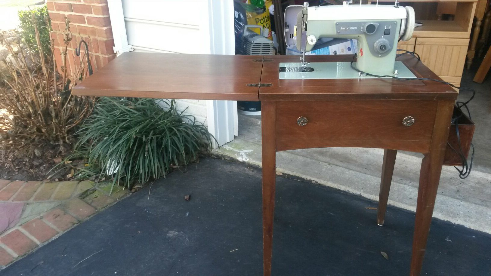 Sears sewing machine with solid cherry wood cabinet