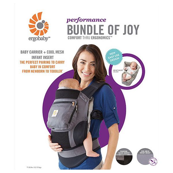 d4a500d8662 ERGOBABY PERFORMANCE BABY CARRIER - BUNDLE OF JOY - CHARCOAL BLACK WITH  GREY COOL MESH INFANT INSERT