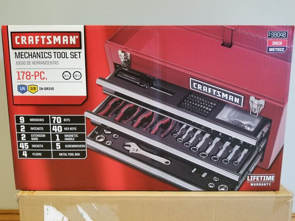 Craftsman 178pc Mechanics Tool Set With Metal Hand Box