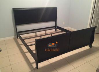 Brand New King Size Black Wood Sleigh Bed Frame Thumbnail
