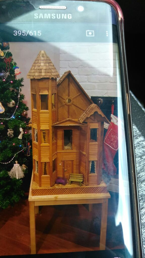 Antique Victorian Doll House With Antique Dolls And Furniture For Sale In