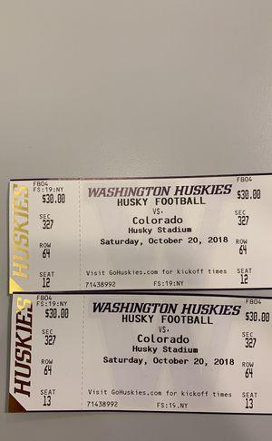 Washington Huskes vs Colorado Buffaloes Football Tickets 10/20/18 for Sale in Seattle, WA