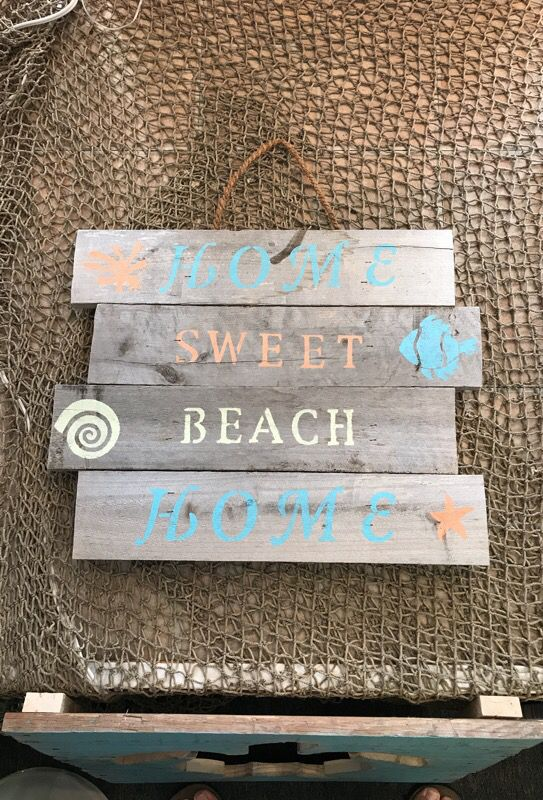 Rustic Hand Made Wooden Home Sweet Beach Home Sign For