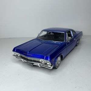 Photo NEW Large 1965 Blue Chevy Impala SS 396 Muscle Car Toy Diecast Metal Model Scale 1/24 1:24 124 Vintage 1960s Chevrolet American Classic