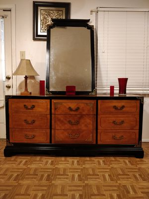 Like new wooden BASSET dresser/TV stand/buffet with 9 drawers, mirror and golden Handel's in great condition, made in USA, for Sale in Annandale, VA