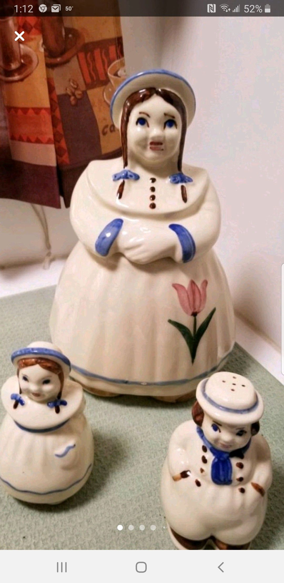 VINTAGE COOKIE JAR WITH SALT AND PEPPER SHAKERS *EXCELLENT