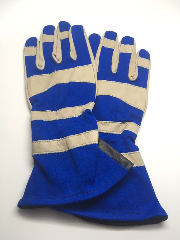 Long Leather Gloves Size Large Home Garden Motorcycle Blue