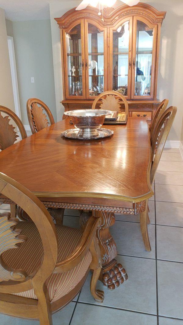 Solid Oak Dining Room Curio Buffet Heavy