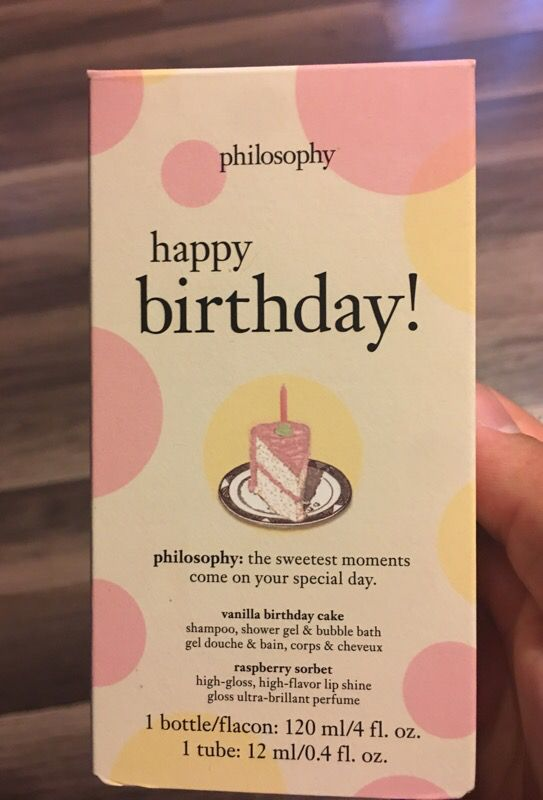Philosophy Happy Birthday Set Vanilla Cake Shampoo Body Wash Bubble Bath And Raspberry Sorbet Lip Gloss For Sale In Monaca PA