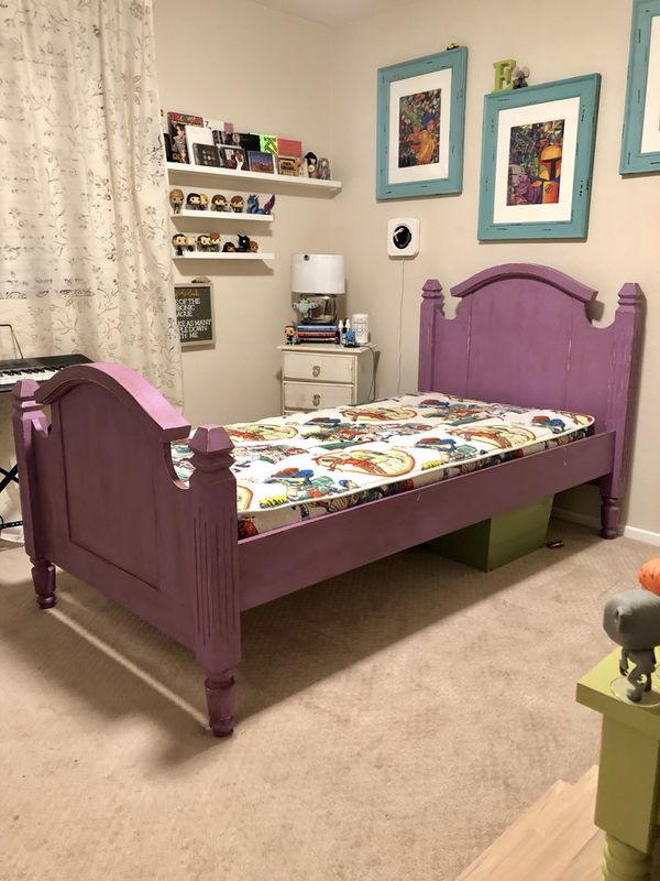 Twin size wooden bed, mattress included! for Sale in ...