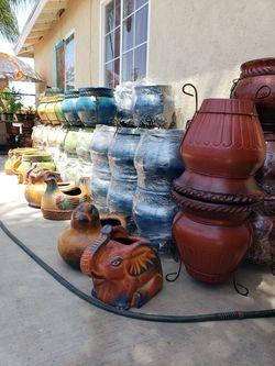 Clay Pots, Macetas, Pottery, Gardening, Metal Decor, Barro, Sun&Moon Decor, Aztec Suns, Aztec Moons, Maseteros, Chimenia, Fire pit  Thumbnail