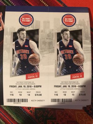 Detroit Pistons vs Washington Wizards - Friday 1/29 for Sale in Windsor, ON