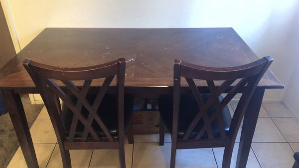 Outstanding Four Piece Dining Table 2 Chairs And One Bench And Table For Sale In Woodland Ca Offerup Gmtry Best Dining Table And Chair Ideas Images Gmtryco