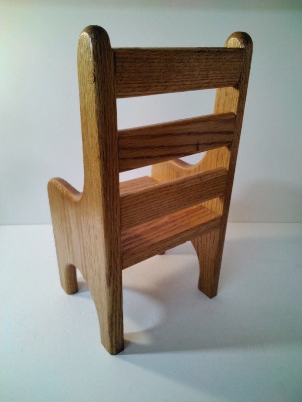 A Oak Doll Chair Made Really Well .     Look At Size.