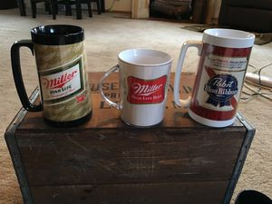 3 vintage beer mugs 2 Miller, and one Pabst for sale  Wichita, KS