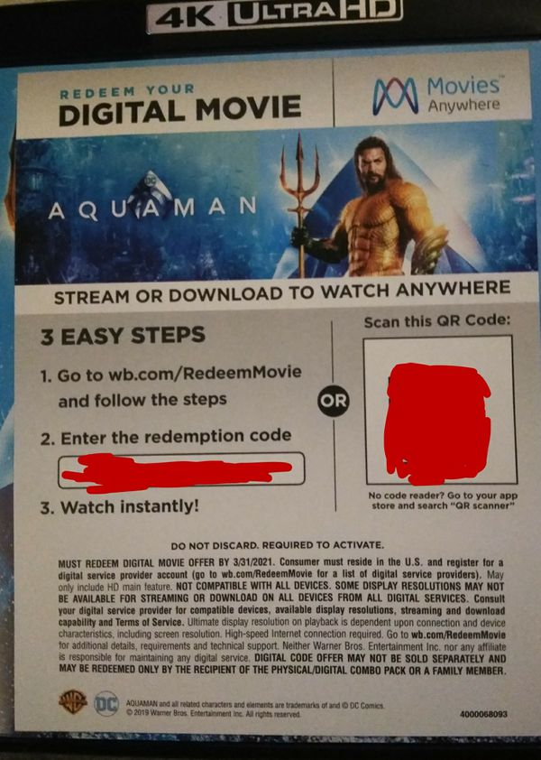 Aquaman 4K digital code  for Sale in Fall River, MA - OfferUp