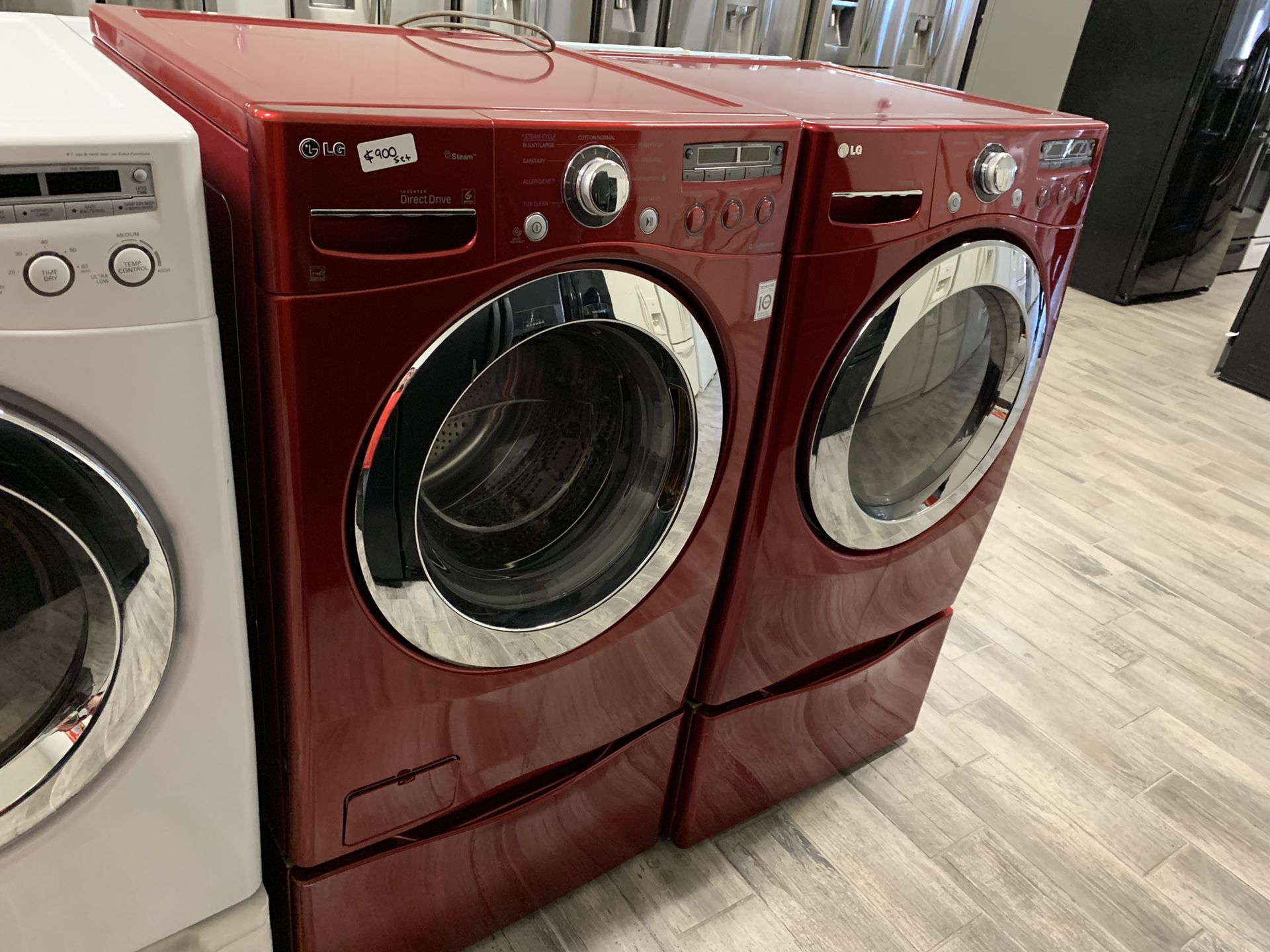 LG red frontload washer dryer set electric newer models