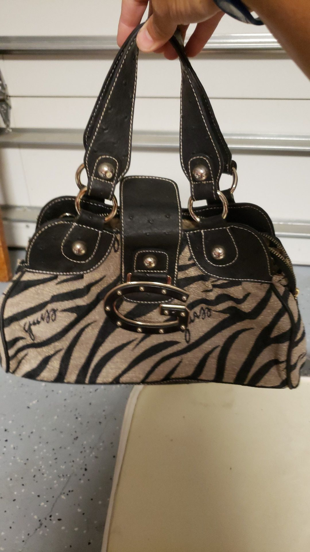 Set of black and tan purse and wallet