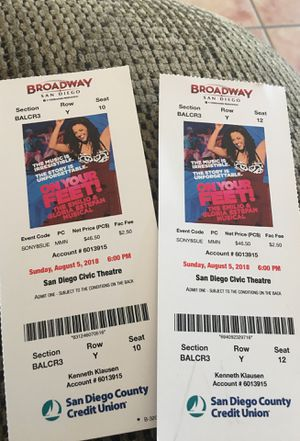 On Your Feet musical tickets! $20 each for Sale in San Diego, CA