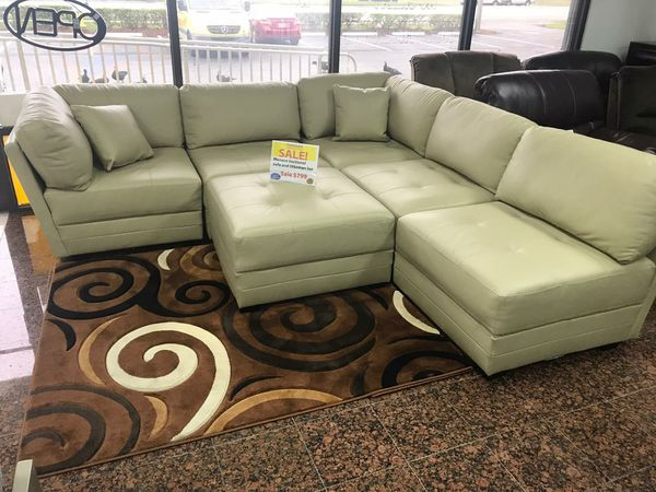 Monaco Beige Leather Gel Sectional Sofa And Ottoman Set Only 799 No Credit Check Financing For