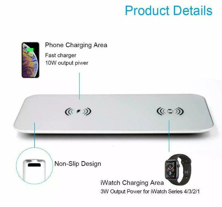 TECT Fast Qi Wireless Charger 2 in 1,Stylish Charging Station, Wireless Charging