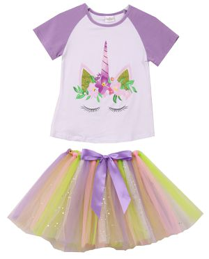 ba3f225cf Little girls unicorn Tshirt tutu tulle skirt set 2 pieces set casual outfit  for summer birthday