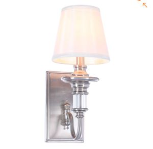Gala 1-Light Polished Nickel Sconce with Tapered Ivory Fabric Shade for Sale in St. Louis, MO