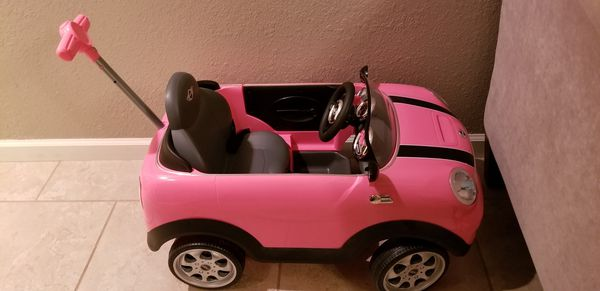 pink mini cooper ride on/push car w/handle for sale in pensacola, fl