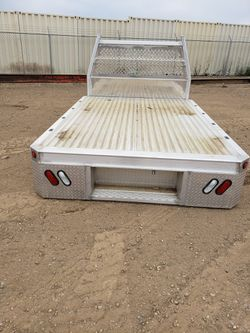 Alluminum flat bed with head ache rack and four side mount tools boxes Thumbnail