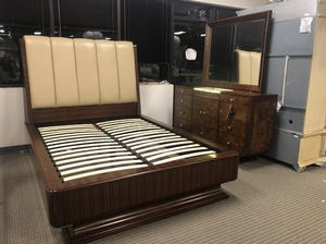 3pc Michael Amini queen bedroom set - queen bed, dresser and mirror for Sale in Lincolnia, VA