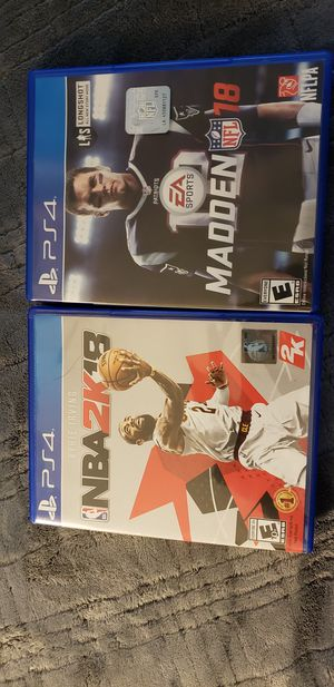 Madden and 2k18 PS4 for Sale in Fort Belvoir, VA