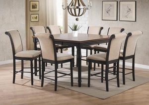 Photo 5PC DINNING ROOM SET: COUNTER HEIGHT TABLE AND 4 CHAIRS--BROWN/CREAM