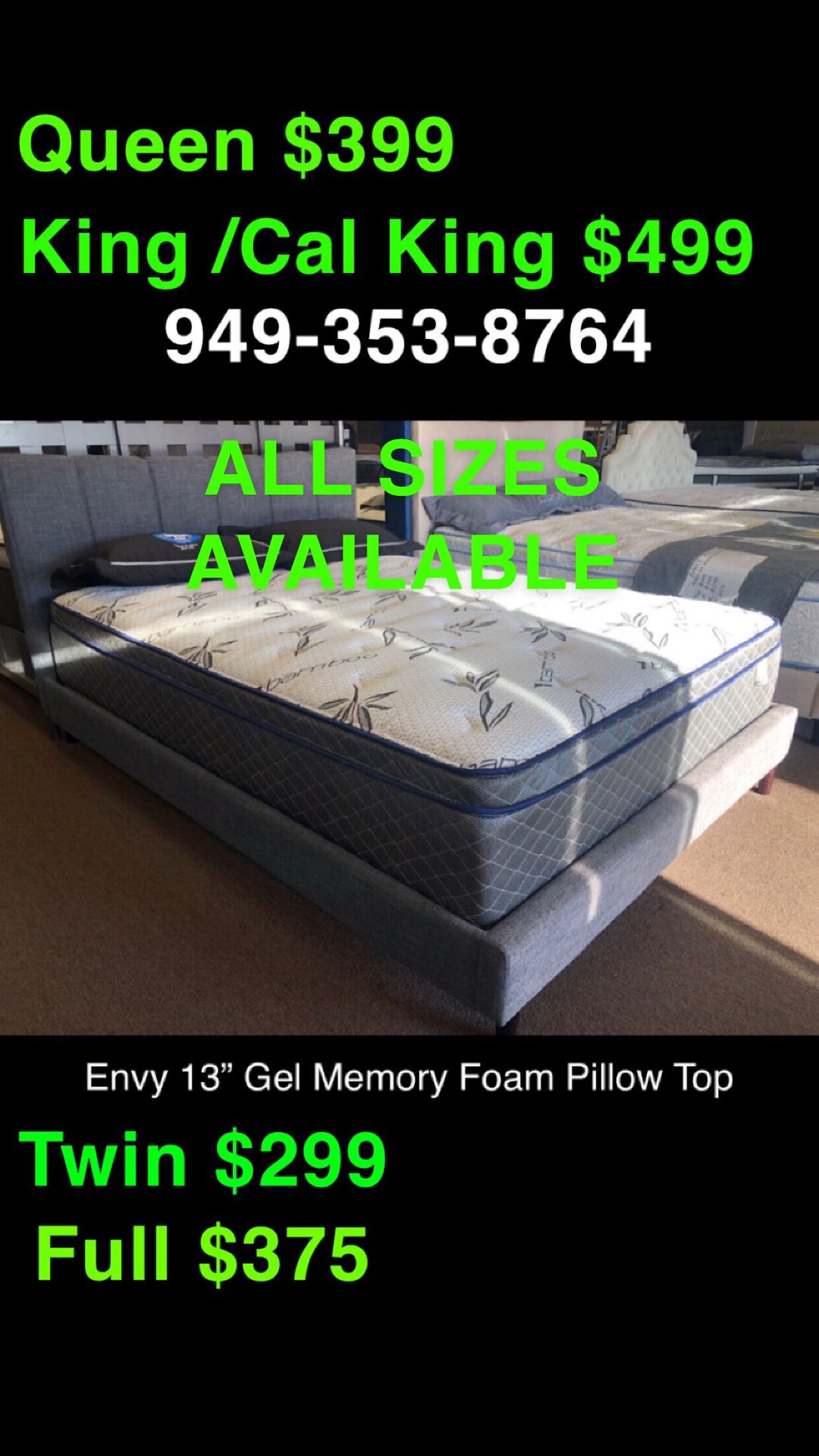 KING / CAL KING COOL GEL MEMORY FOAM HYBRID PILLOW TOP MATTRESS ❄️ INDIVIDUAL COILS ❤️ALL SIZES AVAILABLE 🛏 MADE IN 🇺🇸