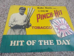 Used, 80s babe ruth tobacco metal sign for sale  Tulsa, OK