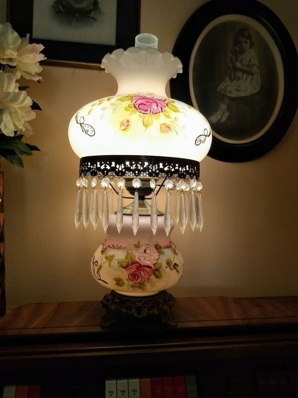 Antique Hurricane Lamp rose/gold paint and Crystal for Sale in Mesa, AZ -  OfferUp