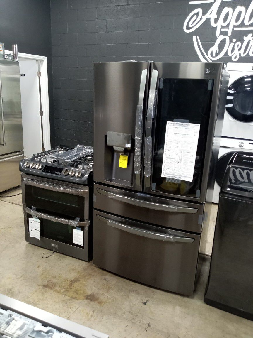 Black Stainless Steel LG Instaview And Double Oven Kitchen Set