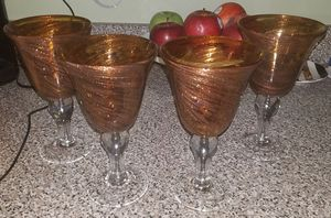 Brown & Gold wine glasses. for Sale in Bronx, NY