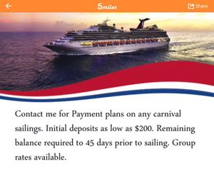 Carnival cruises. Installment plans available for Sale in Hyattsville, MD
