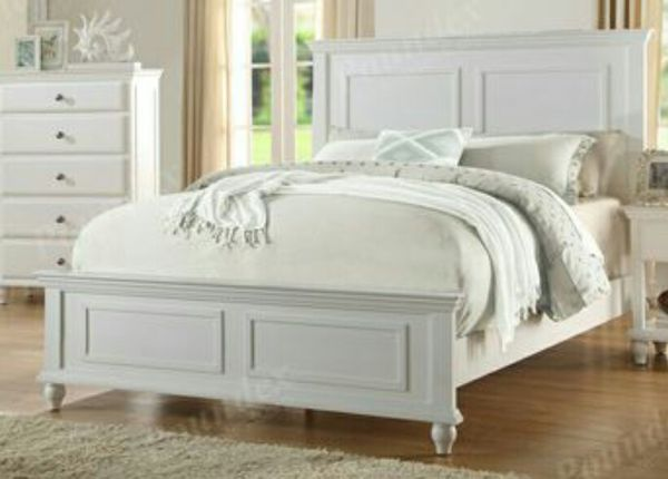 Brand new white queen bed frame + queen mattress + box spring for