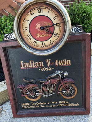 """Indian Motorcycles """"V-Twin 1914"""" 3D Faux Wooden Wall Hanging / Picture W/ Clock for Sale in Fairfax, VA"""