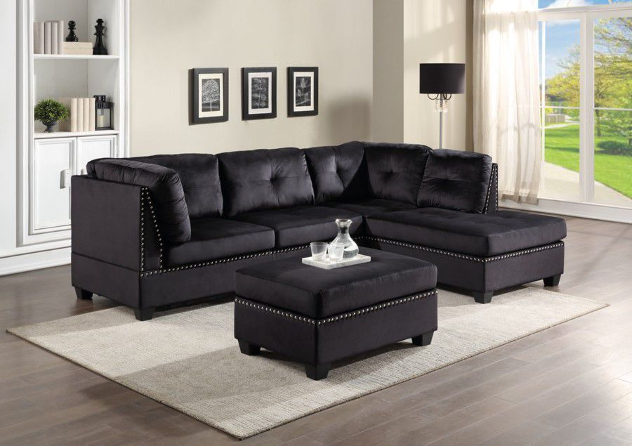 💕💕 SAME DAY and FAST DELIVERY 🚚🚚  BRAND NEW and IN BOX😍 Sienna Black Velvet Sectional With Storage Ottoman