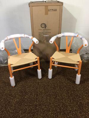 Photo NIB, orange handwoven chairs msrp $799