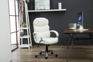 Photo Luxurious High-Back Faux Leather Office Chair with 360-Degree Swivel and Durable Wheel Casters