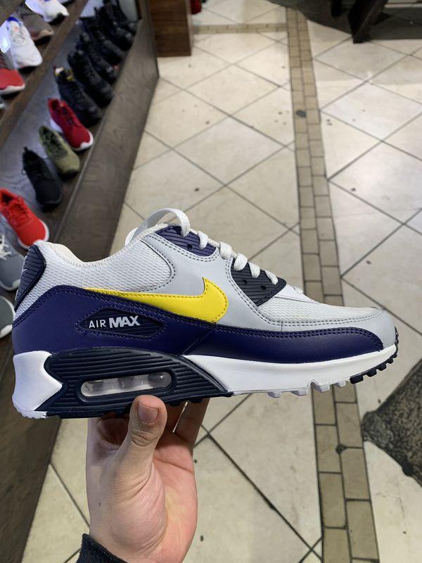 low priced 1f936 64d73 Nike Air Max 90 Essential AJ1285-101 White Blue Recall Pure Platinum Tour  Yellow