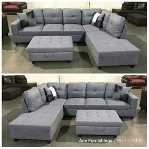 Brand New Grey Denim Linen Sectional With Storage Ottoman & Tax Free for Sale in Federal Way, WA