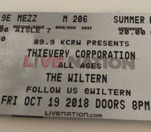 10/19/18 Thievery Corporation at Wiltern 2 Hard Copy tickets Mezzanine row m Seats 205- 206 hard copy tickets for Sale in Los Angeles, CA