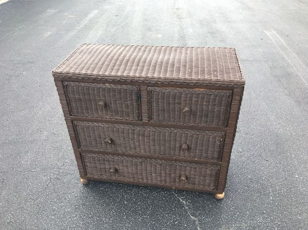 brown real wicker dresser chest great for bedroom storage all