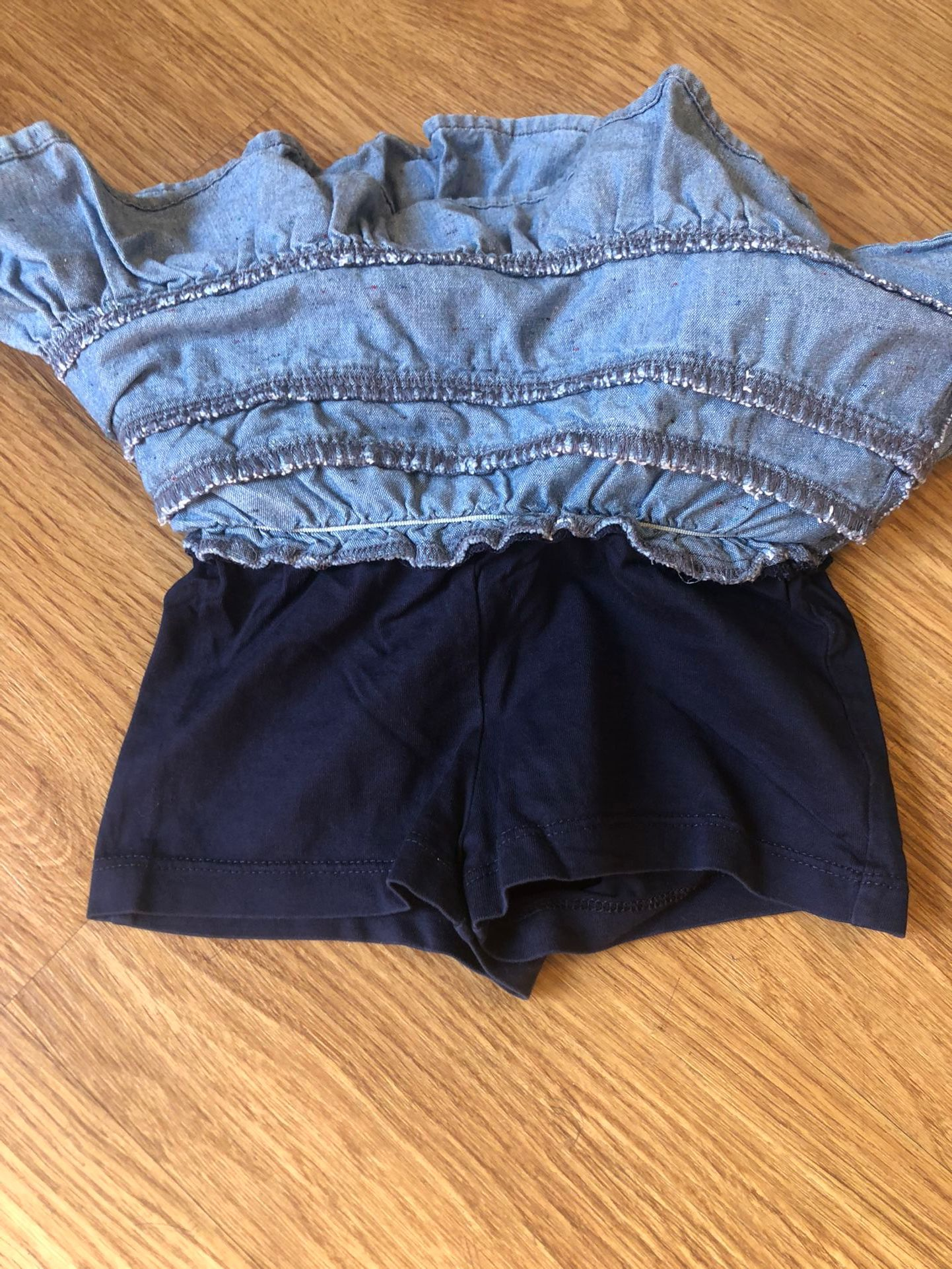 Hanna Andersson Denim Skirt With Shorts Toddler Girl Size 80 (2T)