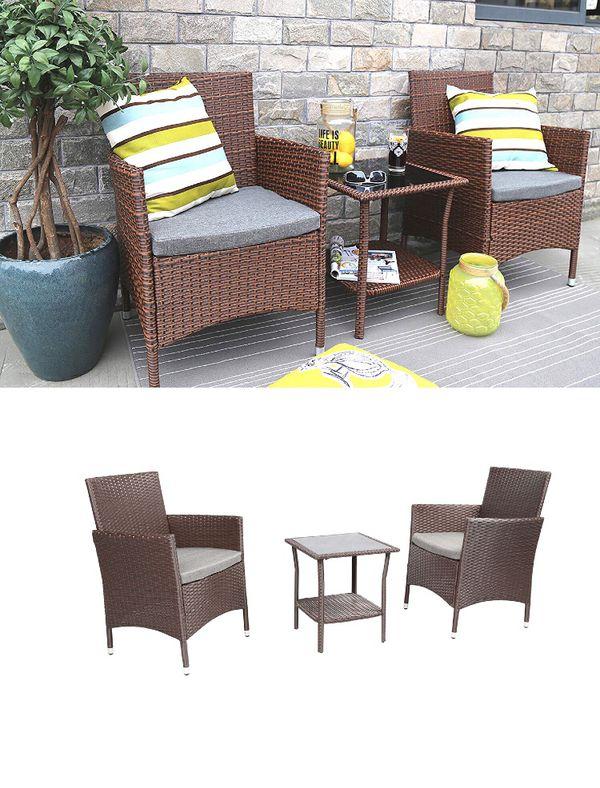 117158f8fb8a Baner Garden 3 Pieces Outdoor Furniture Complete Patio Cushion PE Wicker  Rattan Garden Dining Set, Full, Brown (Q16)
